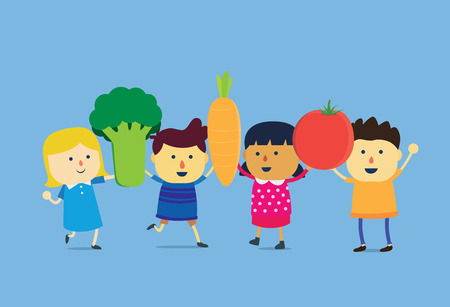 children eating fruit: Children lift a big vegetable to over head, they are very happy and wellness.This is concept about eating vegetable and fruit of children