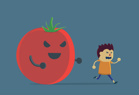 disapproval: Little boy run away from tomato because he look carrot like scary devil. This Illustration about eating vegetable of children