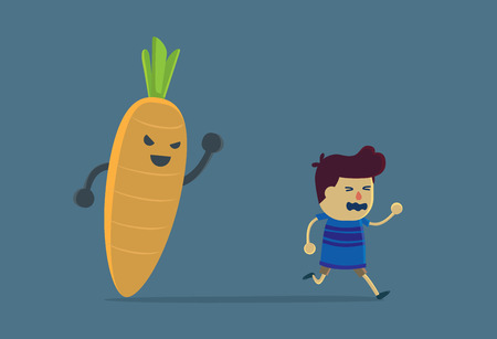 disapproval: Little boy run away from carrot because he look carrot like scary devil. This Illustration about eating vegetable of children Illustration