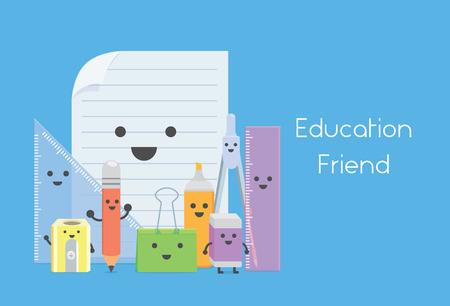 Nombreux équipements de l'éducation en version bande dessinée de caractère comme un ami de l'éducation à l'école Banque d'images - 43560252