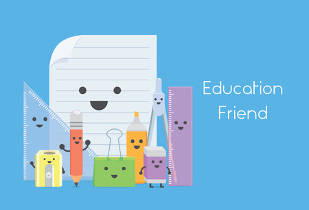 Many education equipment in character cartoon version like a education friend in school Illustration