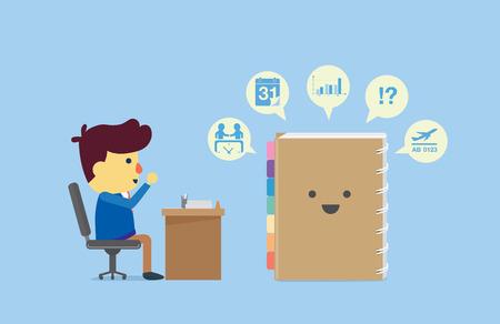 cronogramas: Organizador recordar a todos a hombre de negocios en el tiempo de trabajo sobre el horario y todo lo que tenga en cuenta. Vectores