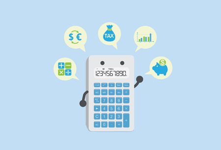 exchange rate: Calculator can calculate everything about finance such as tax, deposit, exchange rate, dividend and stocks. Illustration