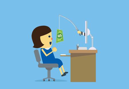 Mujer haber sido el engaño en línea de los delincuentes cibernéticos con el dinero en el gancho