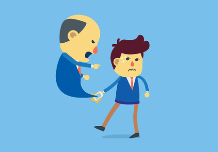 bellow: Subordinate has incoming call to reprimanding from boss with emotion