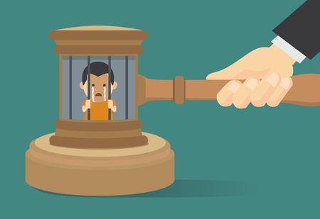 재판장에서 선고 때문에 감옥에 수감 된 무법자 스톡 콘텐츠 - 43563824