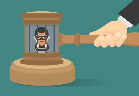 gefangener: Outlaw hat im Gefängnis festgenommen worden, weil vom vorsitzenden Richter verurteilt