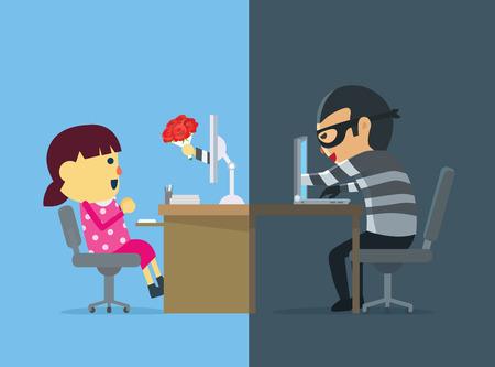 Meisje hebben misleiding van cybercriminelen geweest. Hij flirt met haar door middel van bezorgt bloemen. Stock Illustratie
