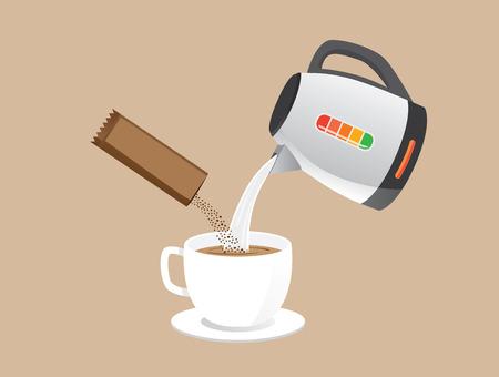 calor: Haciendo café instantáneo con verter agua caliente y polvo de café en una taza a la vez. Vectores