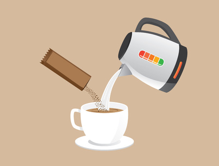 Making instant coffee with pour hot water and coffee powder in a cup at the same time. Ilustração