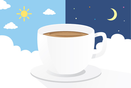 overtime: Coffee cup on cloud at day and night background.This is illustration about drink coffee Illustration