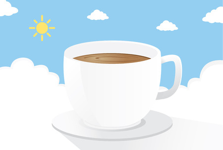 well being: Coffee on the cloud in the morning. This is illustration about drink coffee to start a nice day Illustration