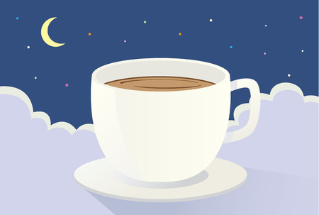 drink coffee: Coffee on the cloud at night. This is illustration about drink coffee because sleepless Illustration