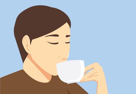 sip: El hombre degustaci�n de bebida de la taza en la mano con el sorbo.