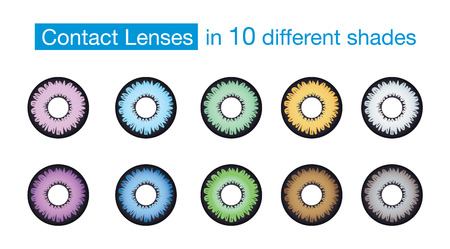 long sightedness: Eye color contact lens collection on isolated background