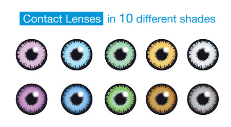 Eye color contact lens collection on isolated background
