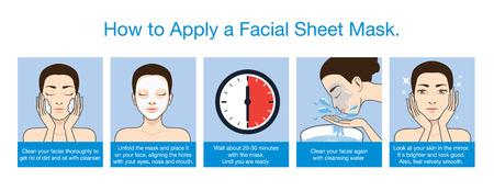 limpieza de cutis: ¿Cómo aplicar la máscara de la hoja facial de la belleza en 5 pasos. Esta ilustración puede aplicará a los envases y otra introducción.
