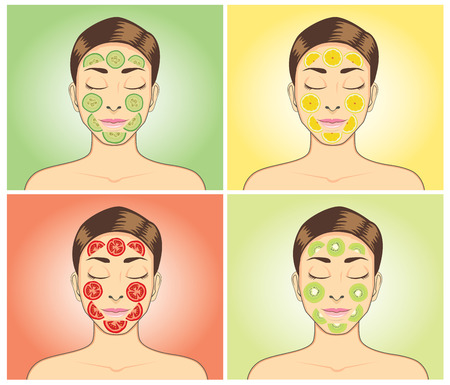 woman face cream: Facial treatment with tomato, kiwi, cucumber and lemon. Women closed eye facial treatment with difference fruit on face for skin treatment. Illustration