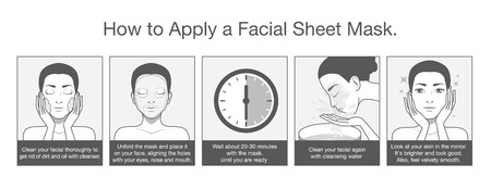 facial cleansing: Step apply facial sheet mask