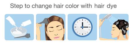 モノトーン デザインの染毛剤で髪の色を変更する手順  イラスト・ベクター素材