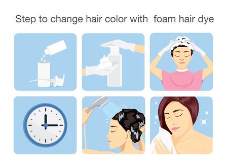 tinte de cabello: Paso para cambiar el color del cabello con el tinte de pelo de la espuma. Vectores