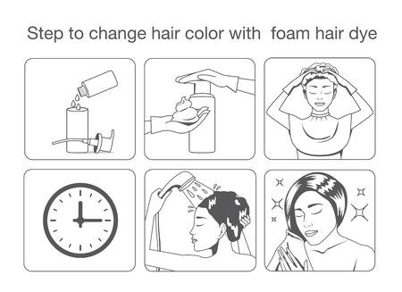 tinte de cabello: Paso para cambiar el color del cabello con tinte para el cabello espuma con diseño de color monótono