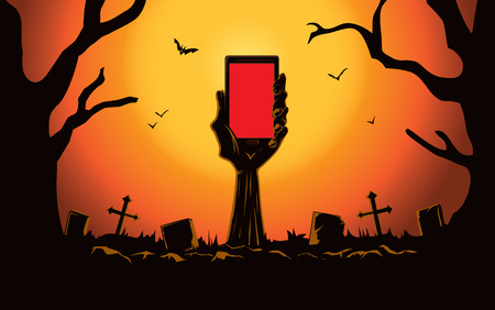 halloween tree: Zombie hand holding smartphone blank screen up from the grave in the cemetery at night. This illustration is Halloween theme Illustration