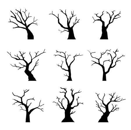 Silhouette dead tree without leaves set Stock Illustratie