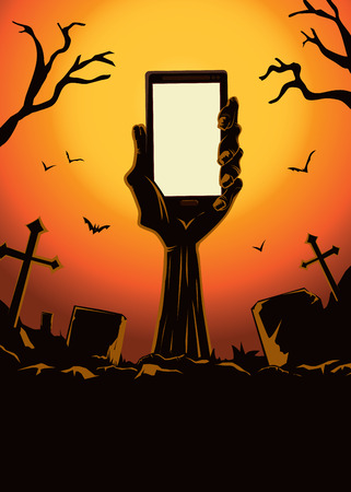 Zombie hand holding smartphone blank screen up from the grave in the cemetery at night. This illustration is Halloween theme Illustration