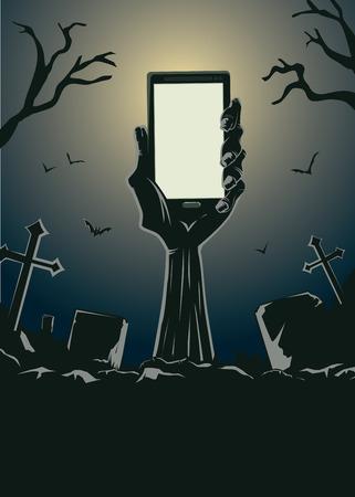 alzando la mano: Zombie mano que sostiene smartphone de pantalla en blanco de la tumba en el cementerio por la noche. Esta ilustración es tema de Halloween