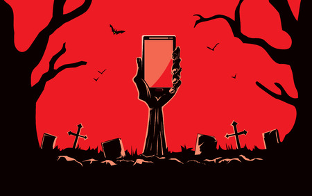 Zombie hand holding smartphone blank screen up from the grave in the cemetery at night. This illustration is Halloween theme Ilustracja