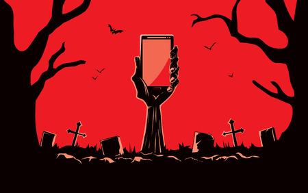 asustado: Zombie mano que sostiene smartphone de pantalla en blanco de la tumba en el cementerio por la noche. Esta ilustraci�n es tema de Halloween