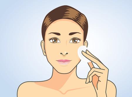 Limpieza de la cara hermosa de la mujer de la piel con algodón facial Ilustración de vector