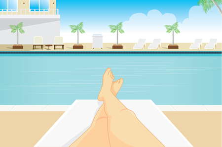 oneself: Point view of woman to sunbathing at a resort pool side. Which saw her legs in the picture. Illustration