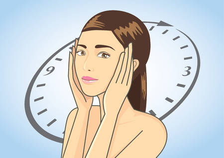 younger: Woman touching her face on blue background which is time symbolic. This illustration is beauty concept in Aging and younger skin story.