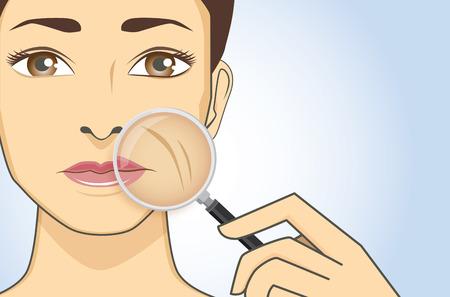 masaje facial: Una lupa en mano de aumento a la mujer de la cara a la búsqueda de arrugas en la mejilla Vectores