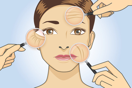 woman close up: A magnifier on hand magnifying the woman facial to finding wrinkle around her face area.