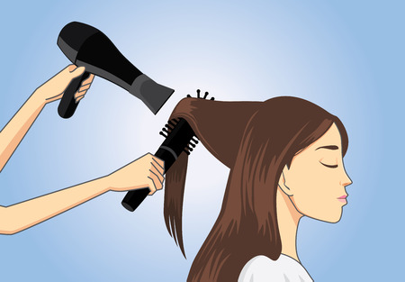 cartoon hairdresser: Hairdresser using hairdryer blow drying to customer at salon.