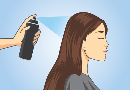 looking straight: Hairdresser make hair styling to customer with hair spray in salon Illustration
