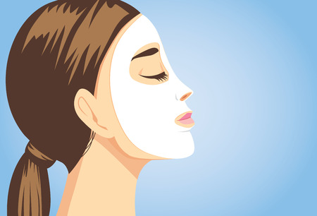 right side: Woman applying a facial sheet mask for treatment her face. Close up shot, side view. Illustration