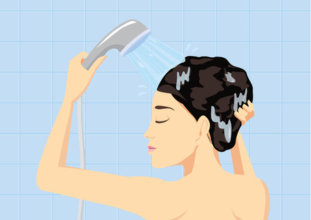 woman washing hair: Woman hair washing with water from shower head in bathroom Illustration