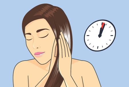 applying: Woman applying hair conditioner to hair treatment in 1-3 Minute. Illustration