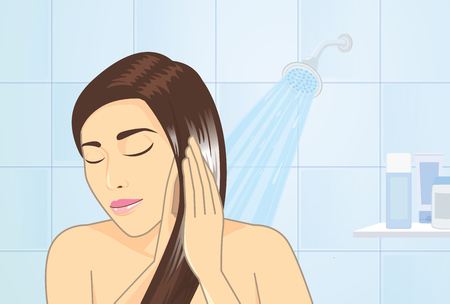 shampooing: woman applying hair conditioner to hair treatment in bathroom