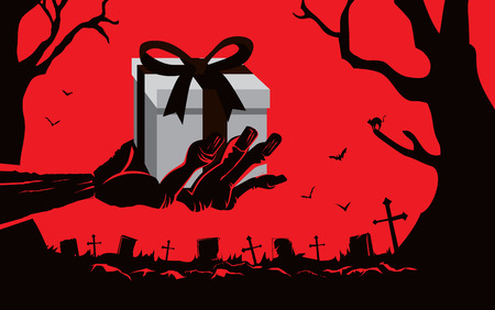 hand silhouette: Zombie hand holding gift box front the grave in the cemetery at night. This illustration is Halloween theme