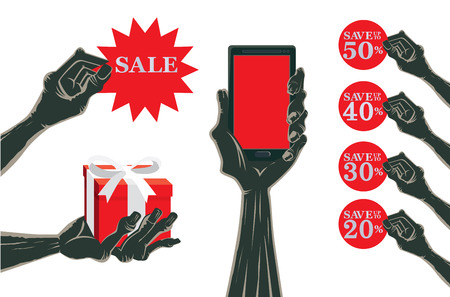 hand silhouette: Zombie hand holding multiple object in collection about promotion and advertising