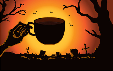 Zombie hand holding coffee cup front the grave in the cemetery at night. This illustration is Halloween theme Illustration