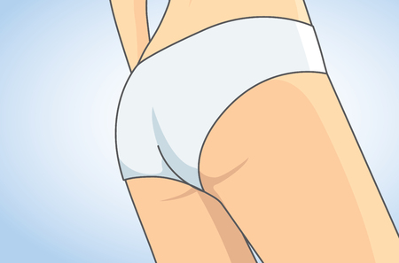 naked girl: Back side of woman close up to buttocks in white panties. Illustration