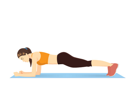 core: Woman making perfect body with the plank exercis