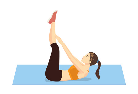 toe: Healthy woman abdominal exercises with lying on floor and lifting hand touch her toe