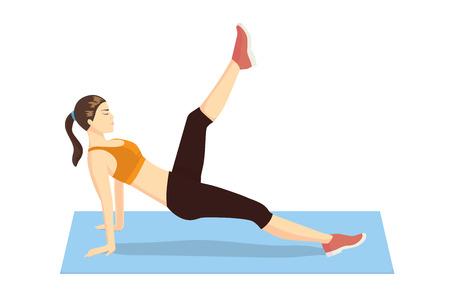 muscle training: Woman doing Pilates-Übungen mit liegend auf Matte und versuchen Bein Pull vorne
